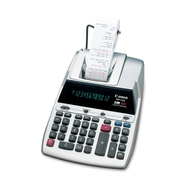Canon MP11DX Printing CalculatorMP11DX Printing Calculator - Dual Color Print - 3.7 lps - Calendar, Clock, Decimal Point