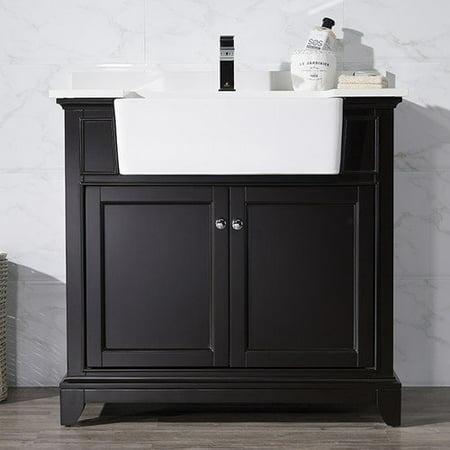 Stufurhome helanah espresso 36 inch farmhouse apron single sink bathroom vanity for 36 inch espresso bathroom vanity