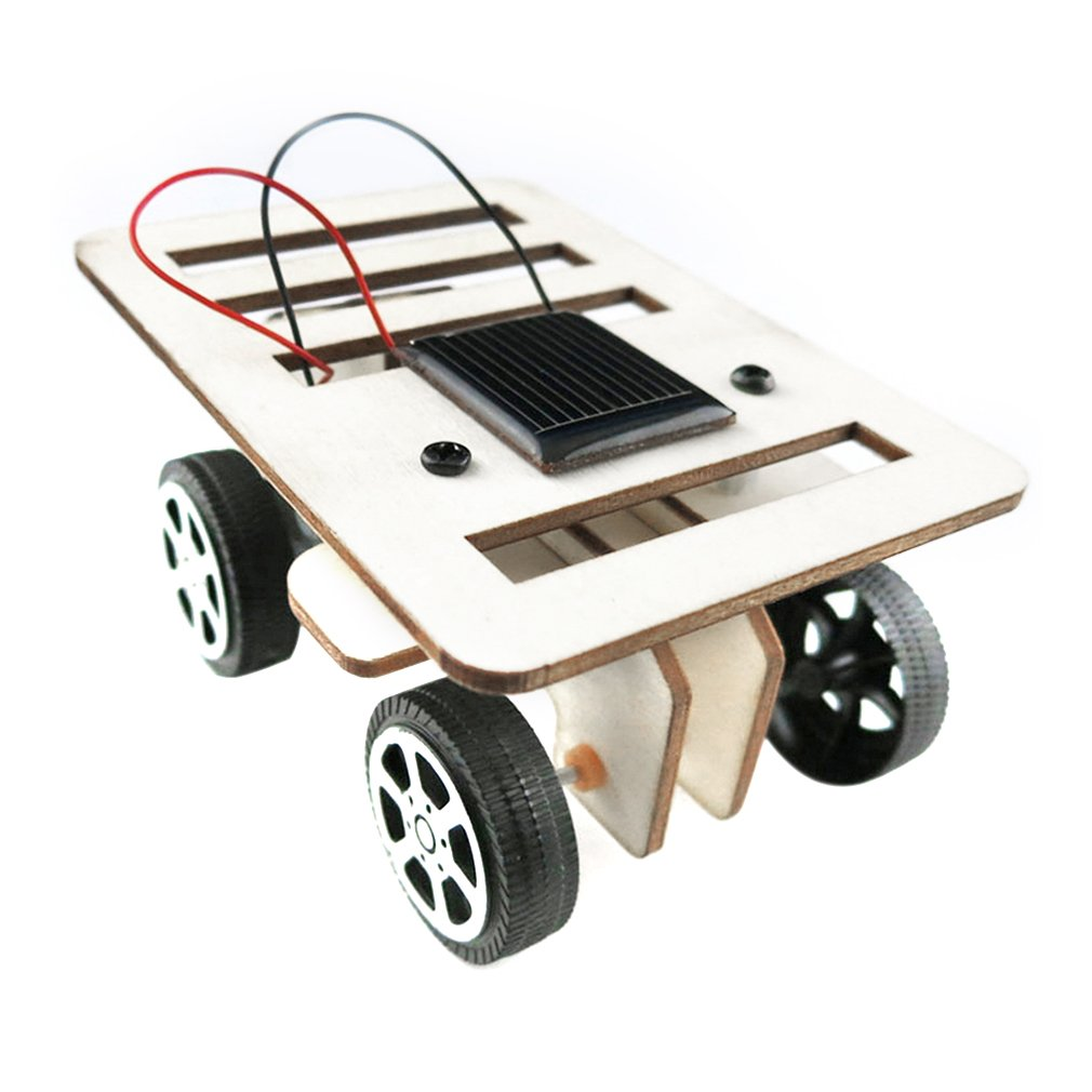 DIY Mini Wooden Car Model Solar Powered Kit Children Educational Toy Gift