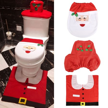 1 Set/3-pack Happy Fancy Happy Santa Toilet Seat Cover and Rug Set Bathroom Set Decoration Contour Rug Christmas Decoration ()