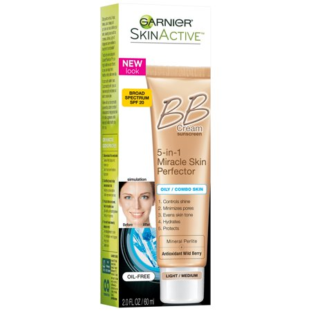 Garnier SkinActive 5-in-1 Miracle Skin Perfector BB Cream Light/Medium for Oily/Combo Skin with SPF 20 2.0 fl. oz.
