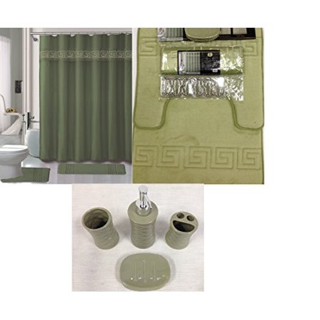 19 Piece Bath Accessory Set Square Sage Green Soft Memory