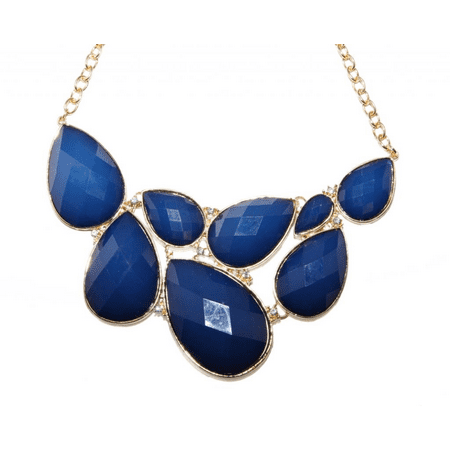 Lux Accessories Faceted Royal Blue Teardrop Stone Rhinestone Bib Statement Chain Necklace ()