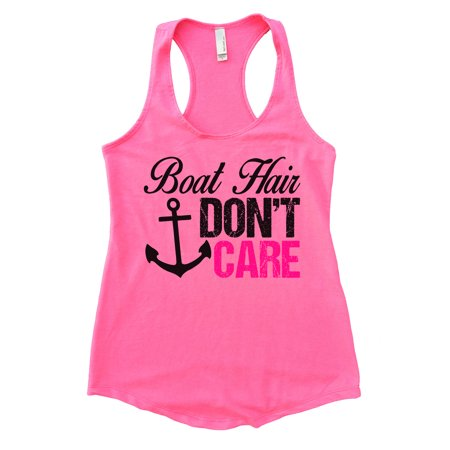 """Womens Flowy Tank Top """"Boat Hair Don't Care V"""" Summer Lake Shirt - Funny Threadz X-Large, Heather Pink"""