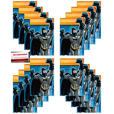 Batman Party 16 Pack Plastic Loot Treat Candy Favor Bags (Plus Party Planning Checklist Mikes Super Store)