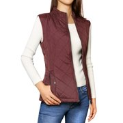 Unique Bargains Women's Zip Up Front Stand Collar Slant Pockets Quilted Padded Vest