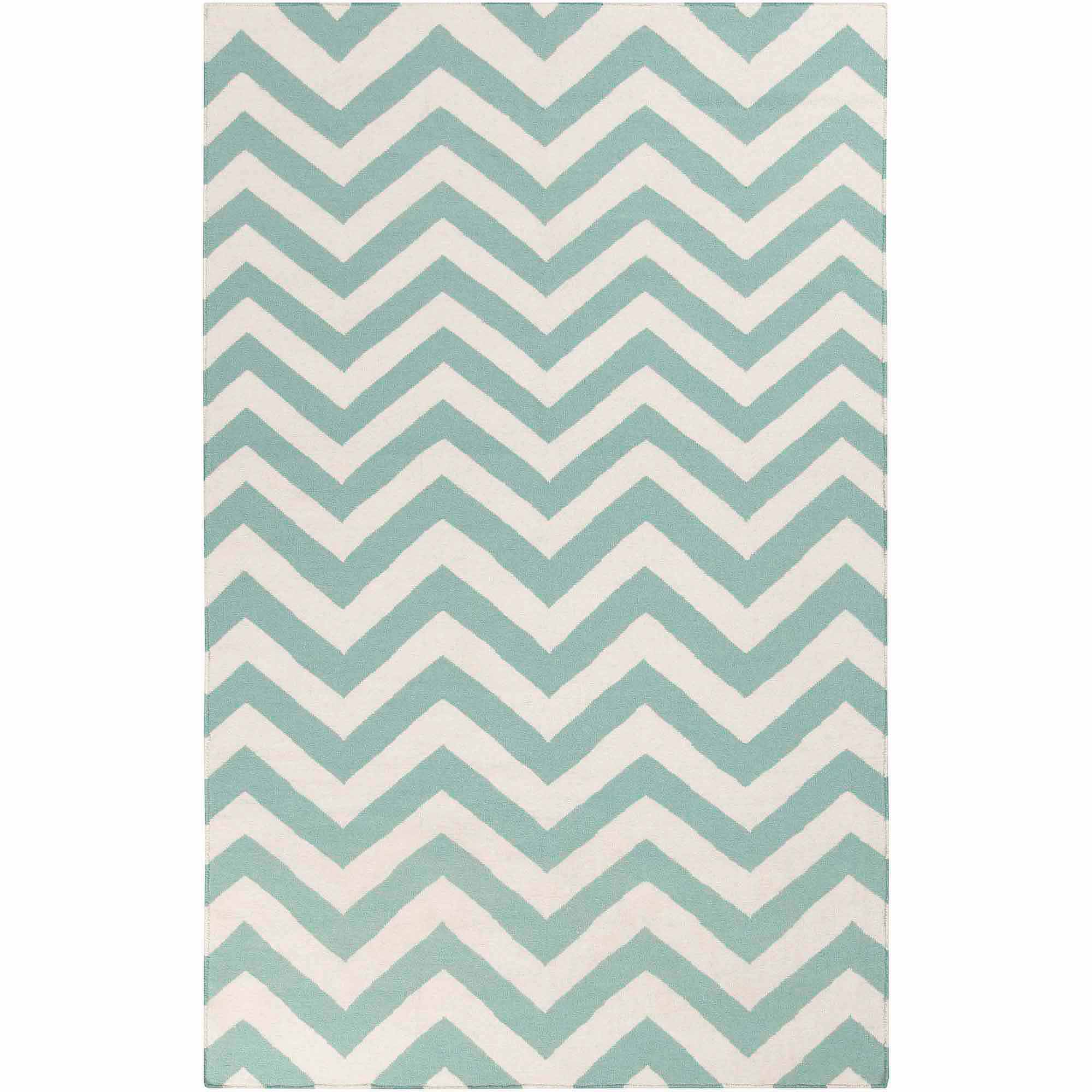 Art of Knot Laughlin Hand Woven Chic Chevron Flatweave Wool Area Rug, Teal