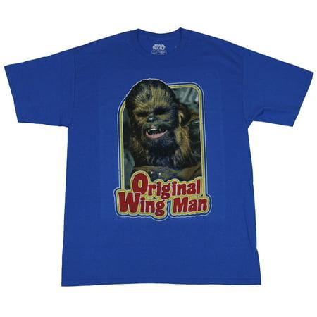 Star Wars Mens T-Shirt - Original Wing Man Chewbacca Over Word Image