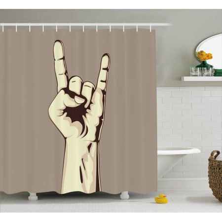 Rock Music Shower Curtain, Devil Sign Vintage Symbol Illustration Hand Gesture Abstract Musical Elements, Fabric Bathroom Set with Hooks, 69W X 70L Inches, Taupe Ivory, by Ambesonne