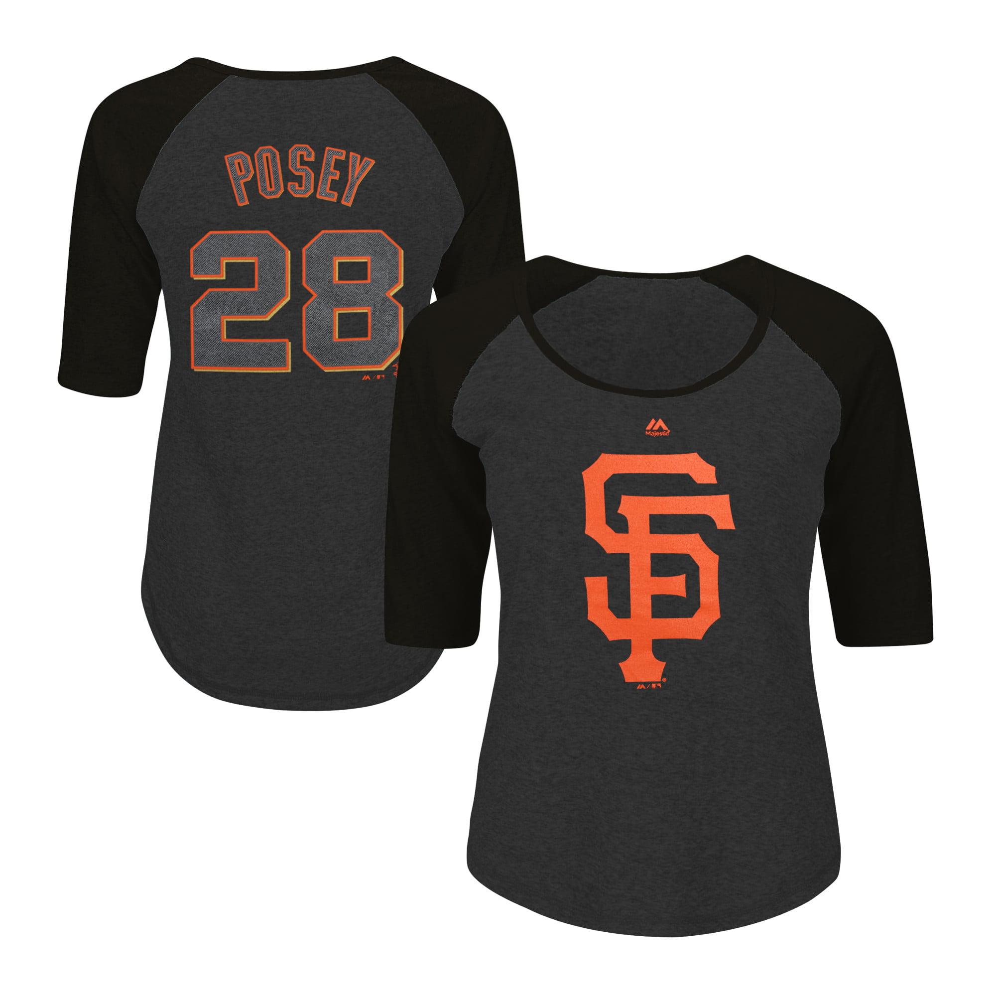 Buster Posey San Francisco Giants Majestic Women's Plus Size Name & Number Three-Quarter Sleeve Raglan T-Shirt - Charcoal