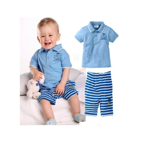 Pirate Outfit Diy (StylesILove Baby Boy Paper Boat Pirates Polo T-shirt and Pants 2-piece (3-4)