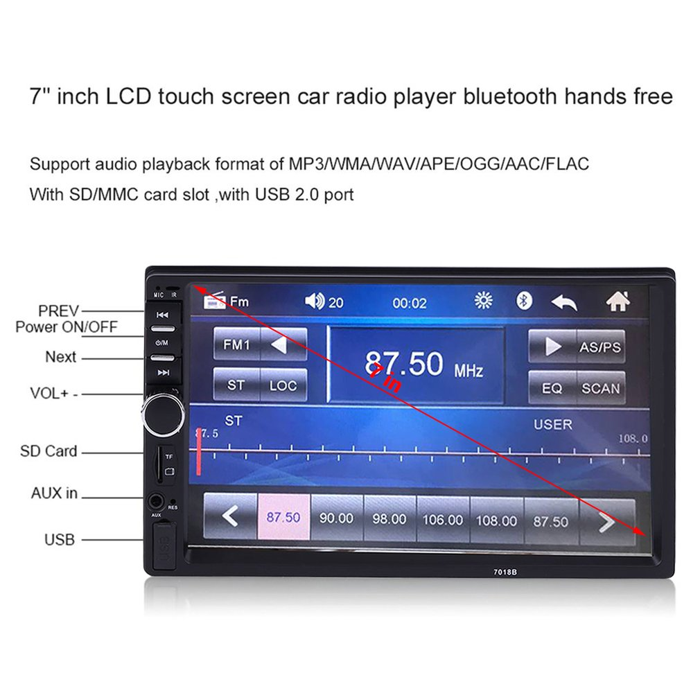 "2018 7"" In Car MP5 Player Dash LCD HD Bluetooth Car Stereo Radio Mp3 Player Aux"