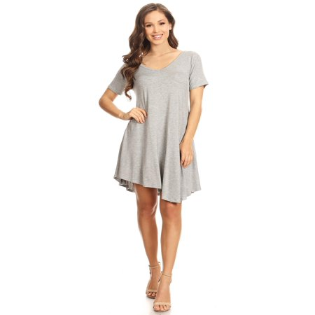 MOA COLLECTION Women's Solid Casual Lightweight Relaxed Fit Short Sleeve Knit Tunic Top Dress