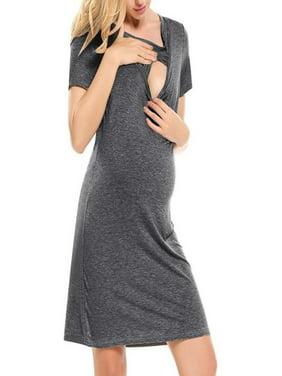 4e2844dc1d3e4 Product Image Maternity Short Sleeve Nursing Baby Breastfeeding Sundress Pregnancy  Dress