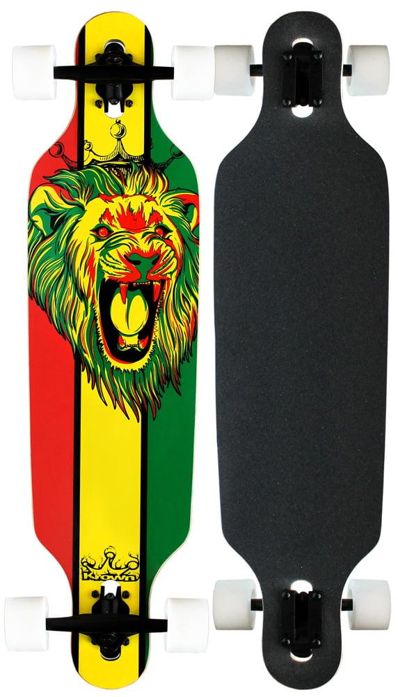Krown Elite Longboard Rasta Lion White Drop Through by Krown