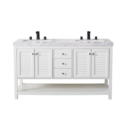 Stufurhome Luthor 60 Inch White Double Sink Bathroom Vanity with Drain