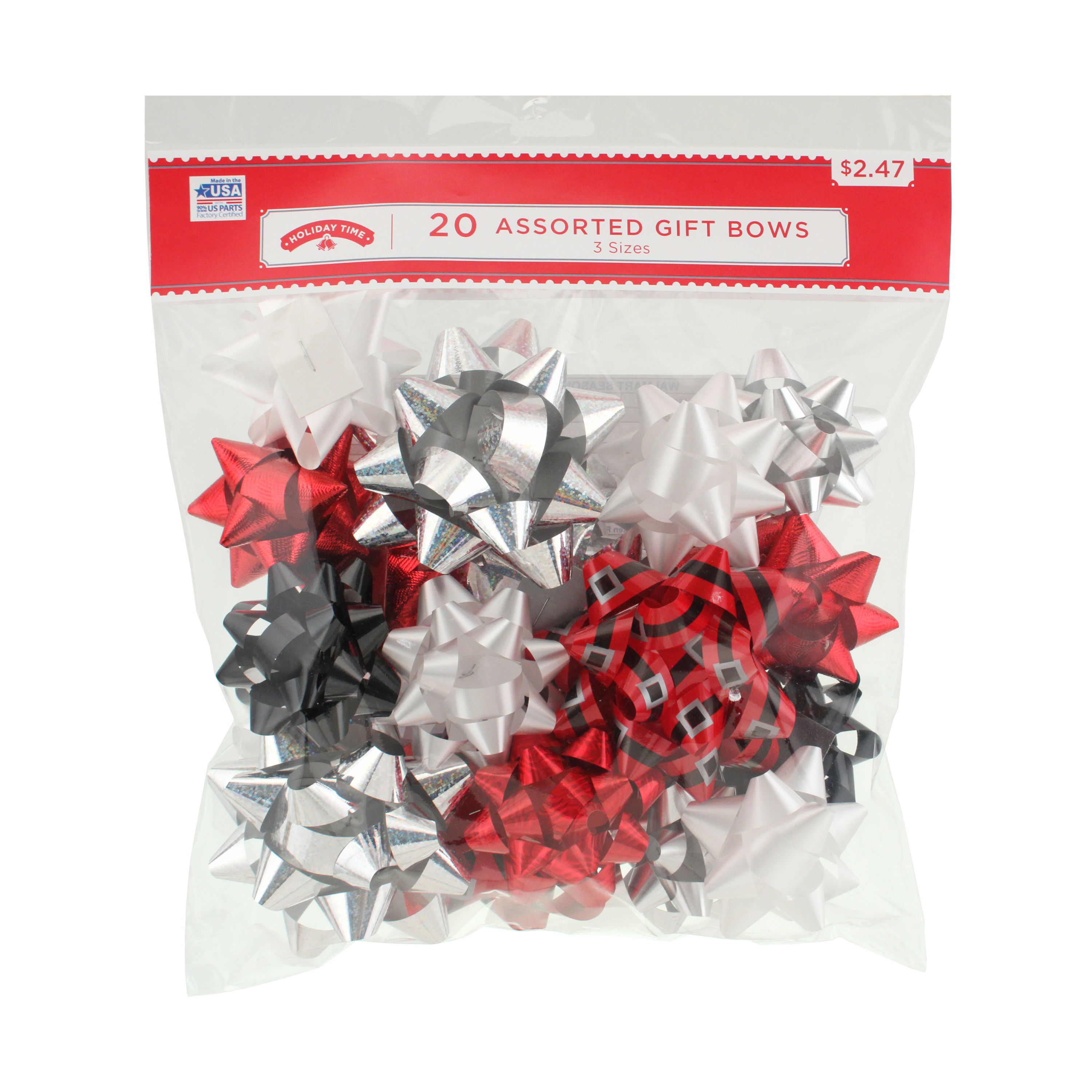 20 COUNT GIFT BOW ASSORTMENT - RED/WHITE/SILVER