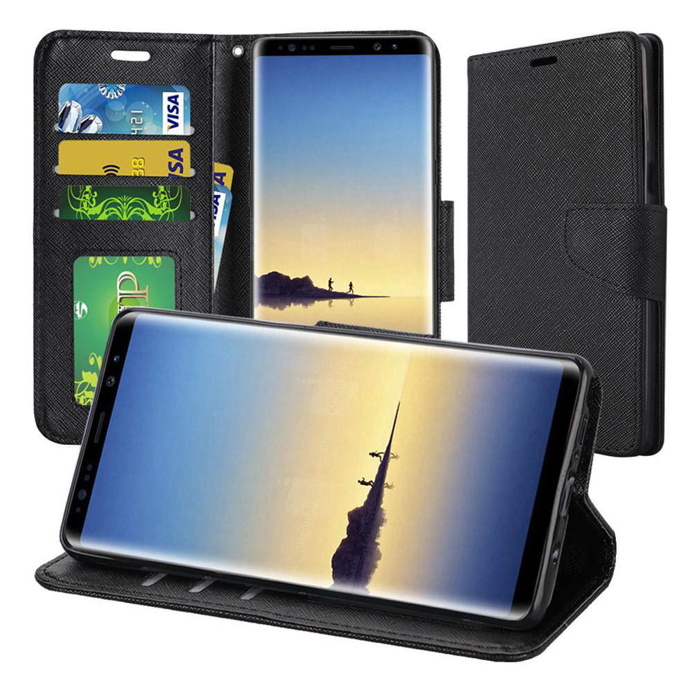 Samsung Galaxy Note 8 Case, Premium Stylish Wallet Flip Pouch Stand Cover Case Protective Hard Back Cover (Anti Scratch, Dustproof, Impactproof) For Samsung Galaxy Note 8 SM-N950U - Black