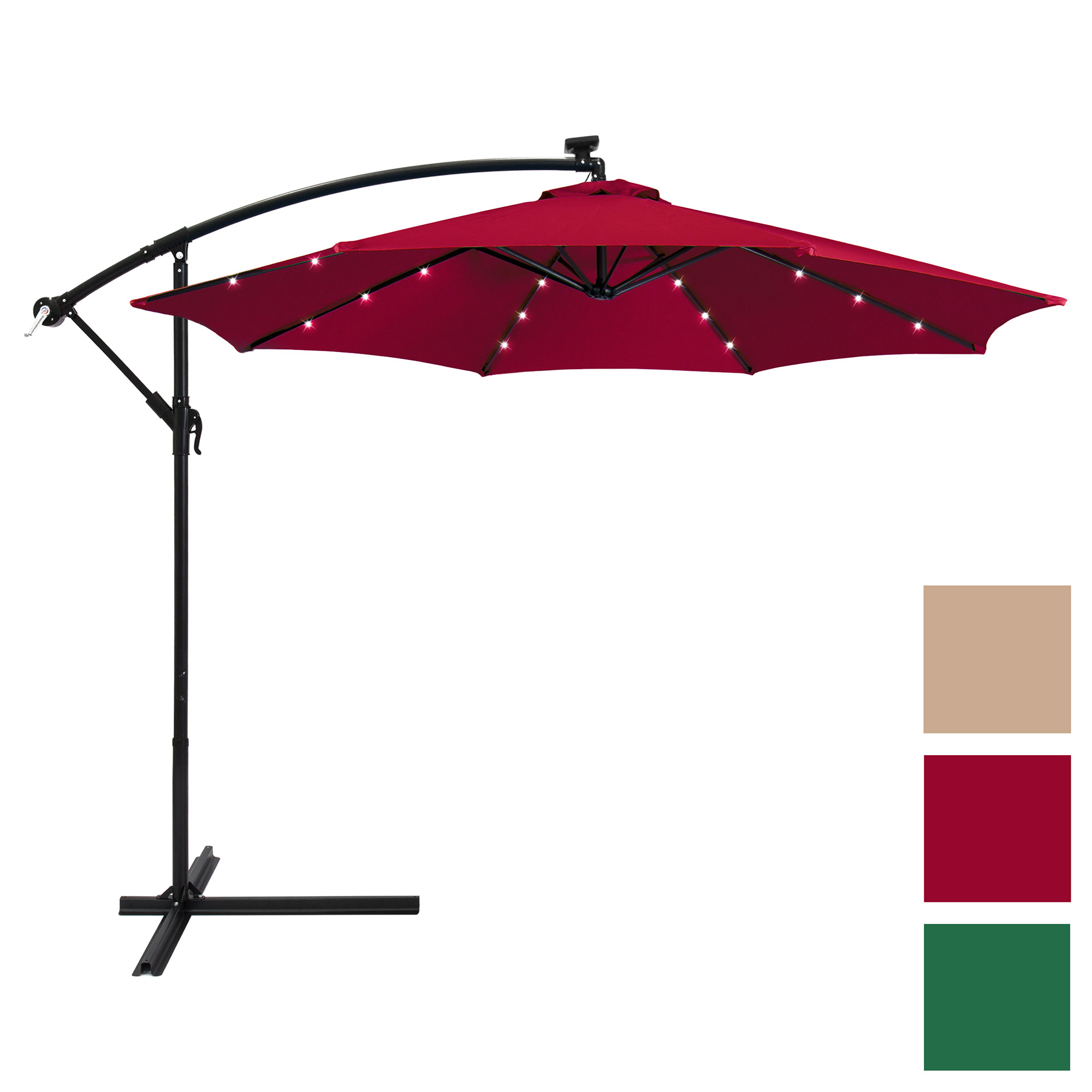 Best Choice Products 10ft Solar LED Patio Offset Umbrella by