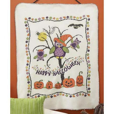 duftin halloween tricks fleece blanket stamped cross stitch