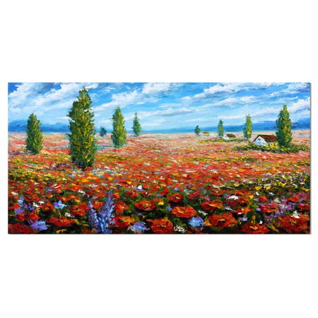 Red Poppies Field Watercolor - Large Flower Canvas Wall Art - image 1 of 3