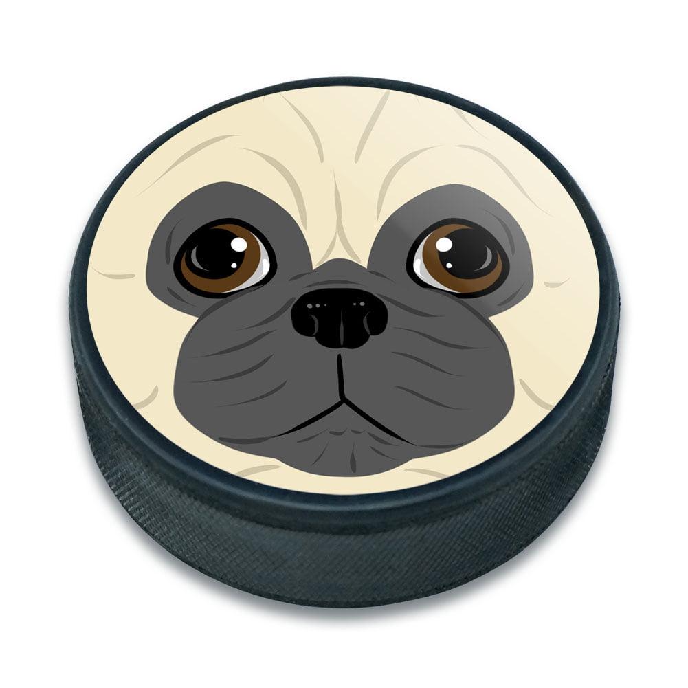 Pug Face Ice Hockey Puck