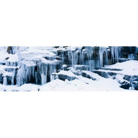 Sierra Rock Finish (Icicles and snowy rocks in Sierra Nevada Mountains California Stretched Canvas - Panoramic Images (36 x 12))