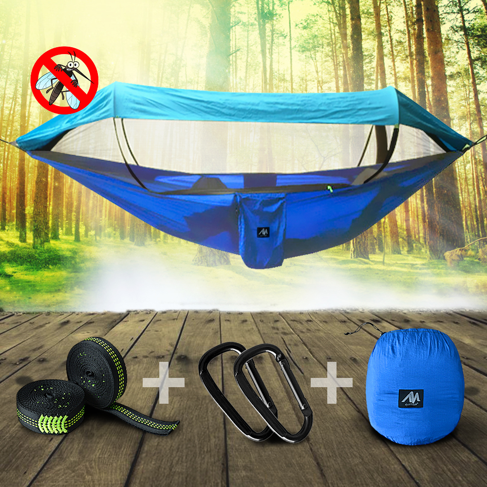 Double 2 Person Outdoor Garden Hammock Portable Nylon Fabric Parachute Multifunctional Lightweight Hammocks IClover with 2 x Hanging Ropes/ Carabiner for Backpacking Travel Beach Yard