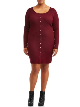 No Boundaries Juniors' Plus Size Long Sleeve Scoop Neck Snap Front Dress