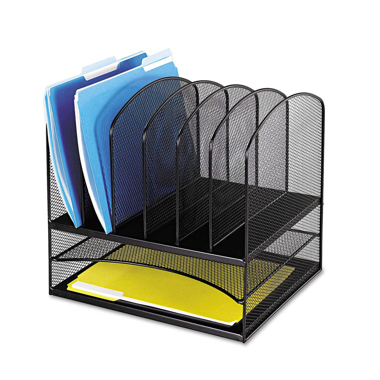 Safco Mesh Desk Organizer Eight Sections Steel 13 1 2 X 11 3 8 Black Saf3255bl Com