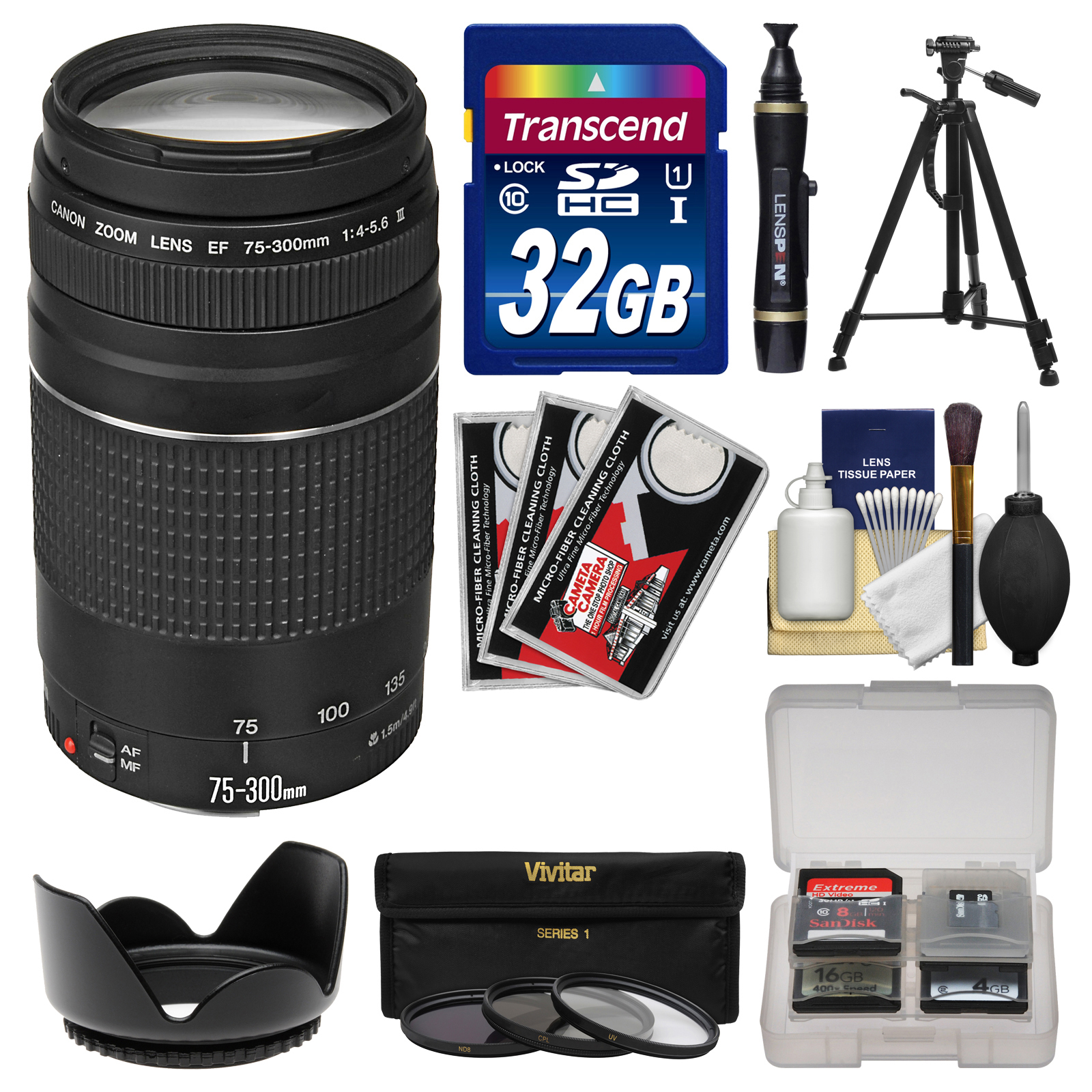 Canon EF 75-300mm f/4-5.6 III Zoom Lens with 32GB Card + ...