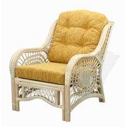 SK New Interiors Malibu Lounge Armchair ECO Natural Rattan Wicker Handmade Design with Light Brown Cushion, White Wash