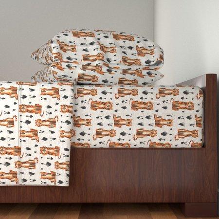Safari Tiger Animal Nursery Wild Cat 100% Cotton Sateen Sheet Set by Roostery