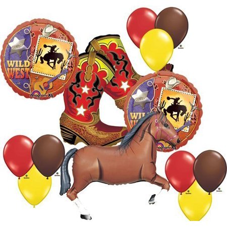 Wild West Cowboy Boots Horse Party Supplies Balloons Decor for $<!---->