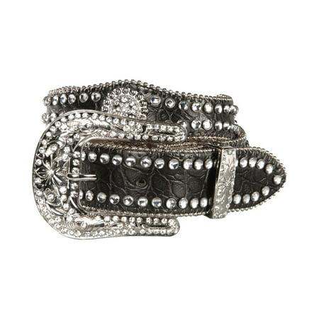 Nocona Girl's Faux Croc Print Ball Chain Edge Belt Black 22 ()