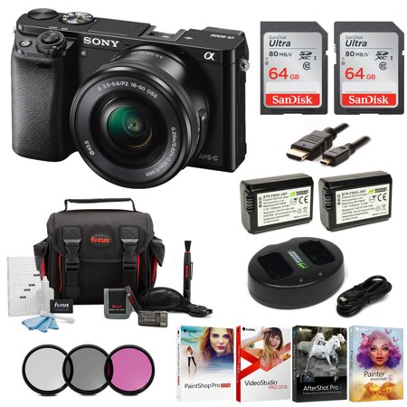 Sony Alpha a6000 Mirrorless Camera (Black) w/ 16-50mm Lens & 64GB Cards