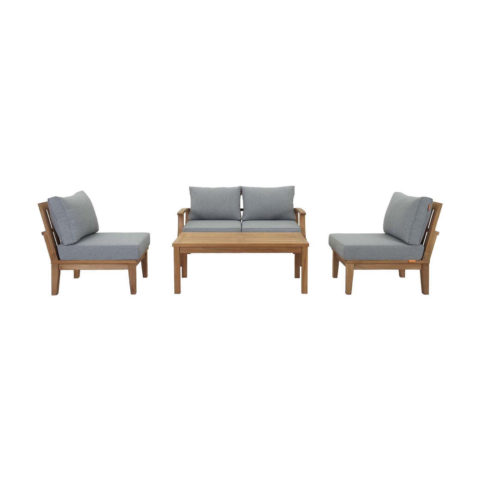 Modway Marina 5 Piece Outdoor Patio Teak Sofa Set in Natural White