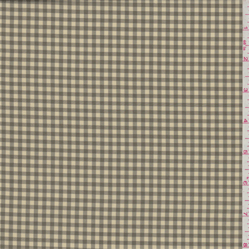 Yellow/Taupe Gingham Check Silk Taffeta, Fabric By the Yard
