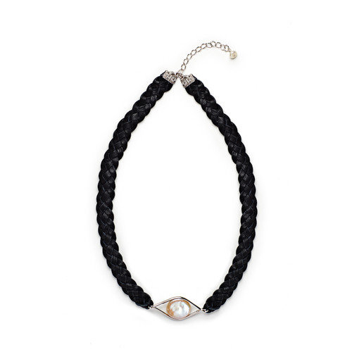 Eco Opulence Black Leather Braided Cultured Pearl Necklace