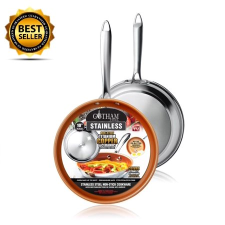 "New! Gotham Steel Stainless Steel Premium 8.5"" Non Stick Frying Pan – As Seen on TV! ()"