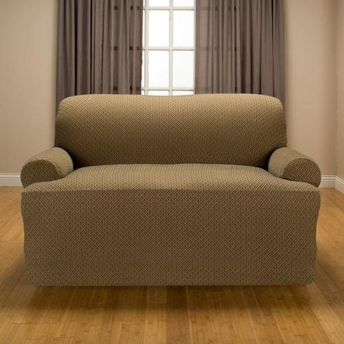 Galway Stretch T-Cushion Loveseat Slipcover Brown