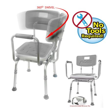MOBB - Shower Chair SWIVEL PADDED Seat Adjustable Bath Seat ...
