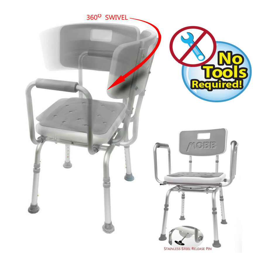 MOBB - Shower Chair Bath Bench SWIVEL PADDED Seat  Adjustable Bath Seat