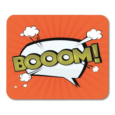 KDAGR Boom Comic Cloud Funny Pop Tag Lettering Bomb Text Sound Effects Bubble Speech Phrase Cartoon Exclusive Mousepad Mouse Pad Mouse Mat 9x10 inch
