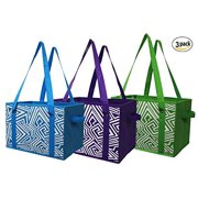 Earthwise Reusable Grocery Bag Shopping Box Tote COLLAPSIBLE BAG with Reinforced Bottom - 3 Bright Colors