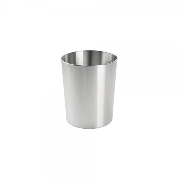 Interdesign Patton Round Metal Trash, Stainless Steel Bathroom Garbage Can