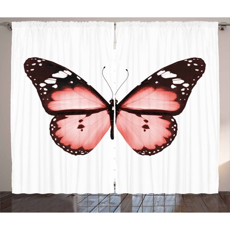 Light Pink Curtains 2 Panels Set, Butterfly Natural Beauty Animal ...