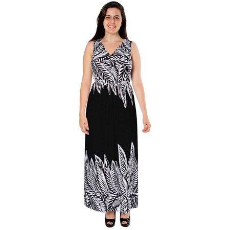 Ankle Length Dress - Women's Plus Size Ankle Length Contrast Maxi Dress