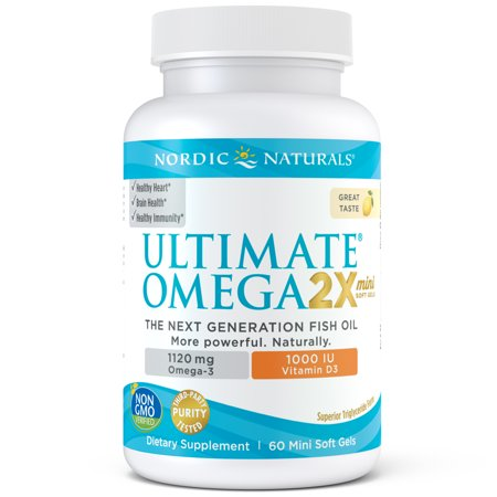Nordic Naturals Ultimate Omega 2X + Vitamin D3 Mini Softgels, 1120 Mg, 60 (Omega 3 Mint)