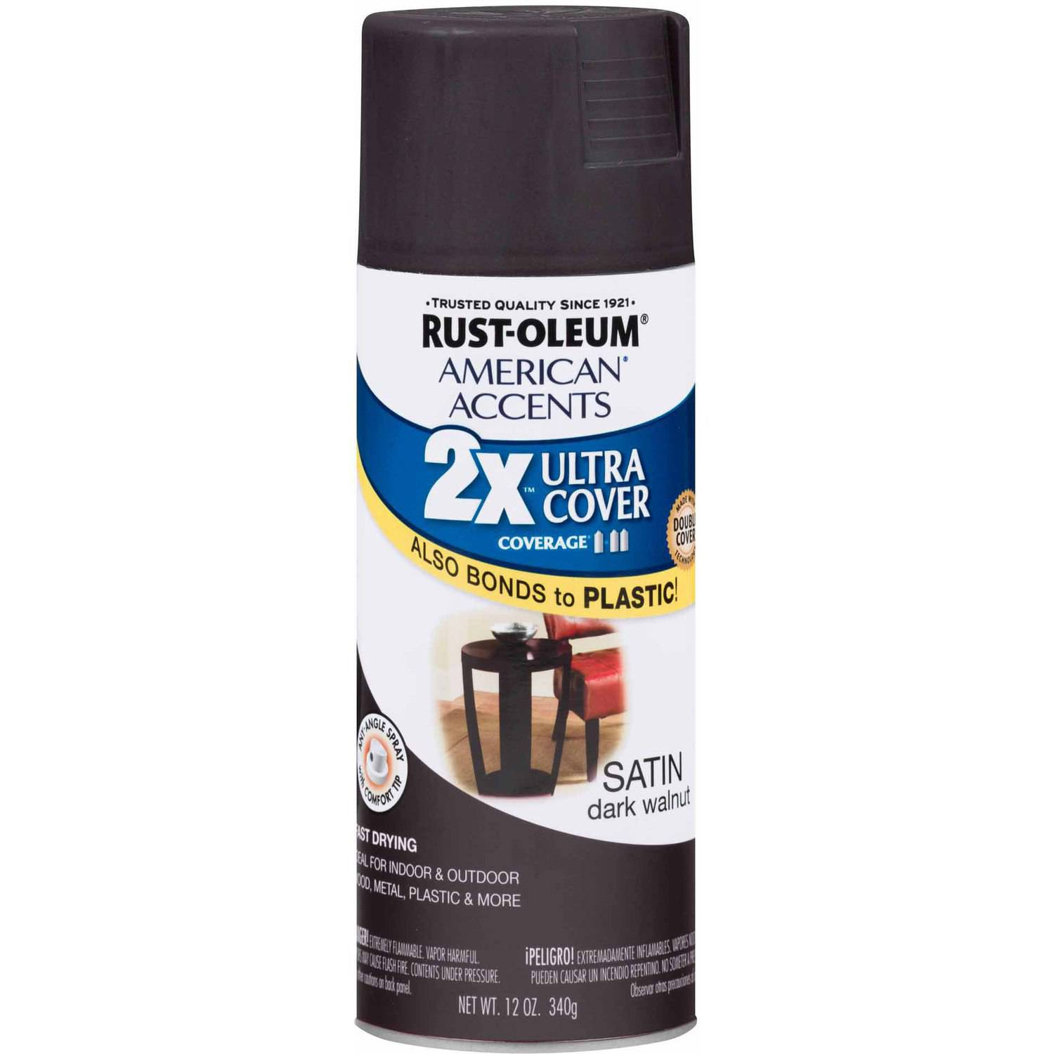 Rust-Oleum American Accents Ultra Cover 2x Paint, Satin Dark Walnut